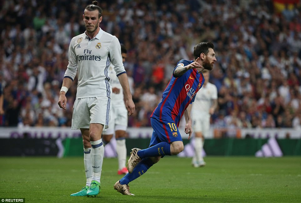 Messi wheels away in delight after his 30th La Liga goal of the season was taken with breathtaking composure in Madrid