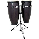 Toca Synergy Wood Conga Set w/ Double Stand - Trans Black