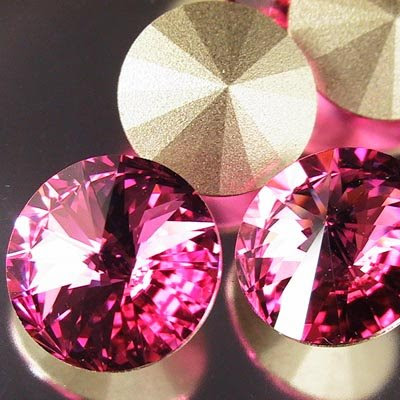 96711221030209 Swarovski Rhinestones - 14 mm Rivoli Cut (1122) - Rose
