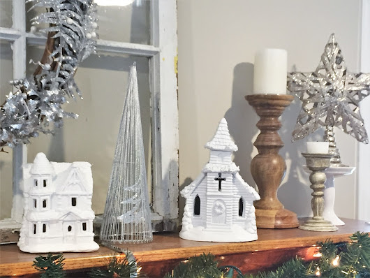 Spray Painted White Christmas Houses-Update Traditional Holiday Decor