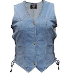 Allstate Snap Up Conceal Carry Womens Blue Jean Denim Motorcycle Vest