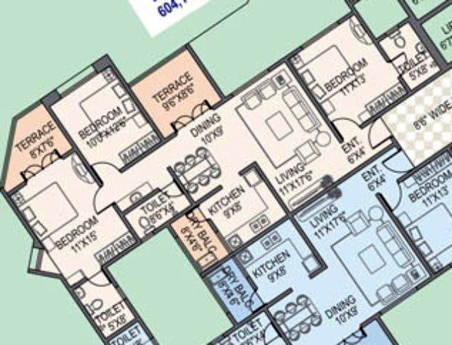 Paranjape Schemes' Gloria Grace E Wing 3 BHK Flat 1020 Carpet + 141 Terrace for Rs. 71.16 Lakhs