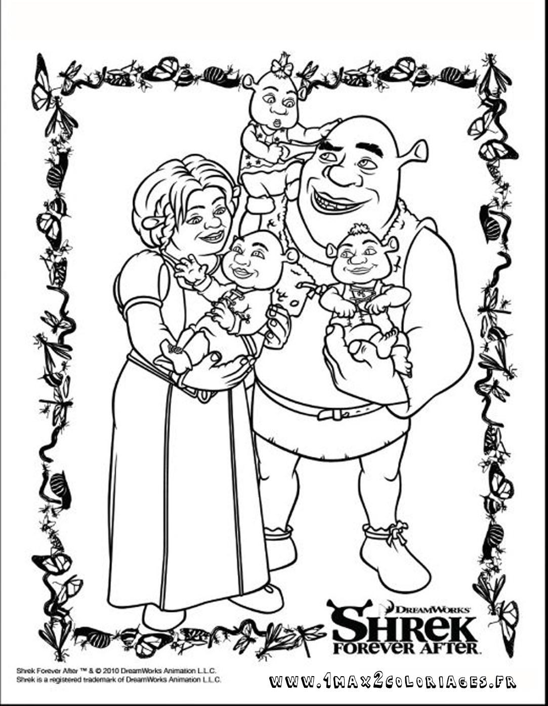 coloriage Shrek 4 et Fiona
