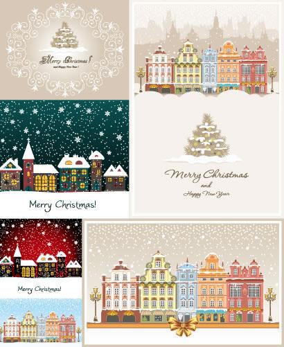 ホワイトクリスマスの街並みのイラストaieps ベクタークラブ