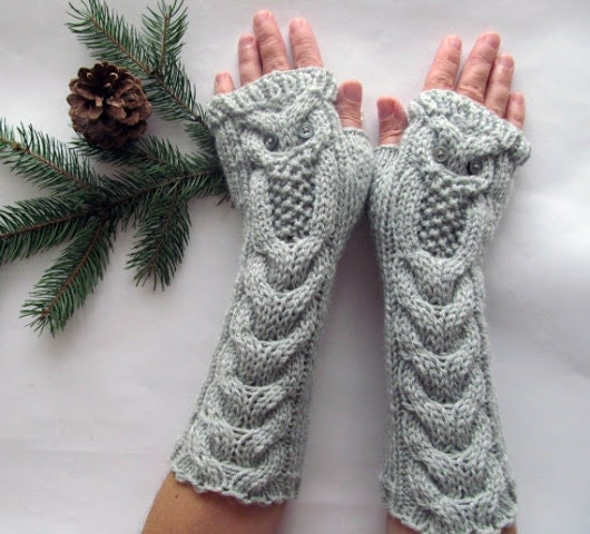 Owl Light Gray Long Hand Knitted Arm Warmers by NastiaDi on Etsy