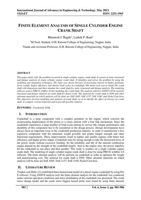 (PDF) FINITE ELEMENT ANALYSIS OF SINGLE CYLINDER ENGINE