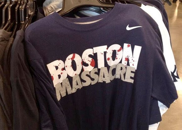 "This shirt was on sale in the Boston area shortly before the Boston bombings. When asked why the shirt was still on sale AFTER the bombing, an employee of that store said ""they keep reappearing back on the shelves"". While the shirt is made to refer to the rivalrly between the Yankees and the Red Sox, this odd ""premonition"" is reminiscent of Oscar Pistorius' Nike ad entitled ""I am the bullet in the chamber"", which appeared before he got charged for the murder of his girlfriend."