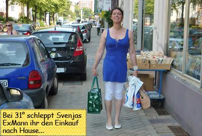 Svenja geht einkaufen und Sven schleppt die Taschen