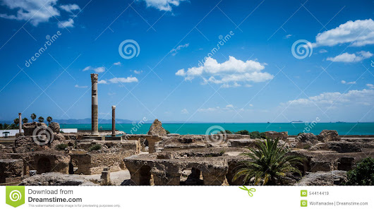 Thermes Antonin De Carthage With Ocean And Sky Stock Photo - Image: 54414419