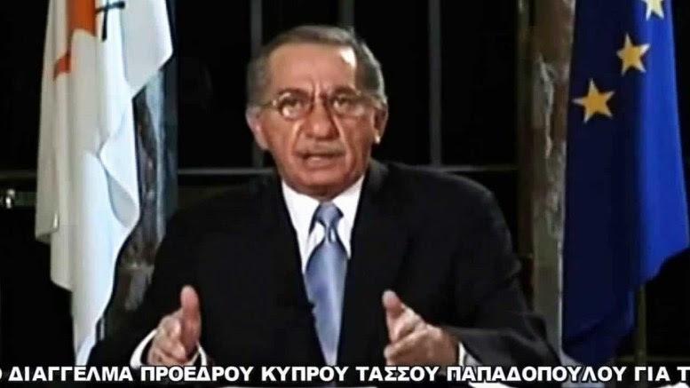 Ο Τάσσος Παπαδόπουλος την ημέρα του διαγγέλματος στον κυπριακό λαό. Φωτογραφία via ΡΙΚ