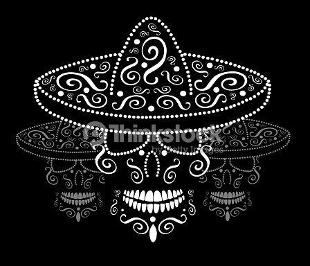 Calavera Mexicana Con El Fondo Del Sombrero Día De Los Muertos Arte