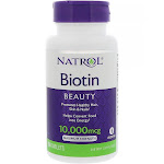 Natrol Biotin, Maximum Strength, 10,000 mcg, Tablets - 100 tablets