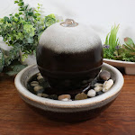 """Indoor Tabletop Fountain w/ Modern Orb Ceramic Water Feature - 7"""" by Sunnydaze Decor"""