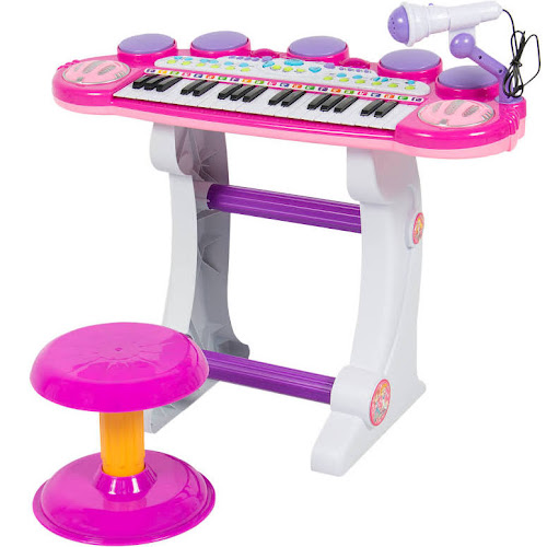Best Choice Products Musical Kids Electronic Keyboard 37 Key Piano w/ Microphone, Synthesizer, Stool, Records and Playbacks Music Pink