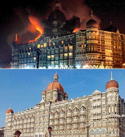 La splendida architettura coloniale del Taj Hotel, uno dei più lussuosi dell'India, inaugurato nel 1903. L'hotel dispone di 565 stanze, di cui 46 suite (Afp)