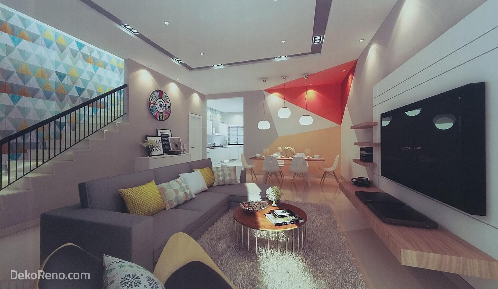 Dekorasi Ruang Tamu Rumah Teres 2 Tingkat Desain Contoh
