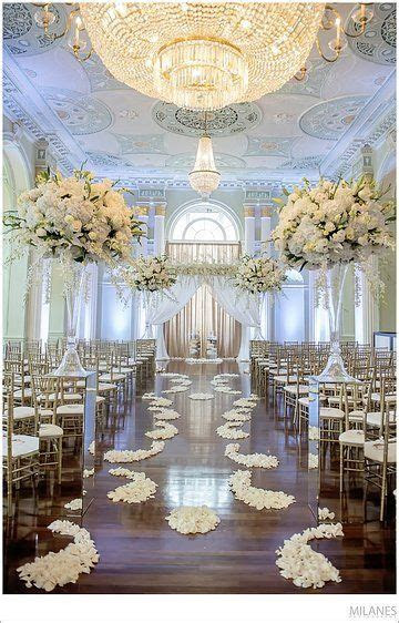 White Themed Luxurious Indoor Wedding Ceremony Décor