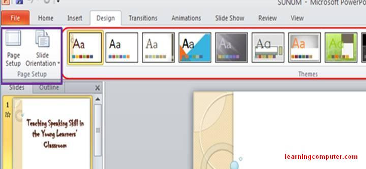free PowerPoint 2010 Design tab groups7
