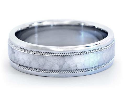 Hammered Milgrain Comfort Fit Wedding Ring in Platinum