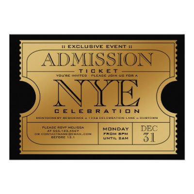 NYE Gold Ticket Party Invitation