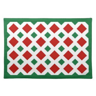 Red and Green Diamonds on White Placemats