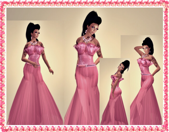 Paris Metro Couture Leather & Sheer Gown Pinkie pink
