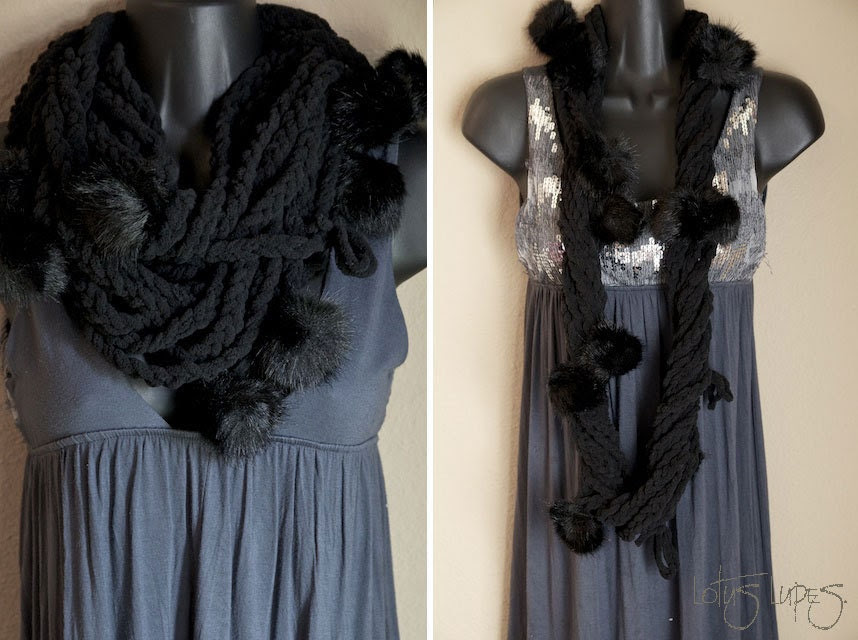 Black Furry Infinity Lotus Lupe Scarf