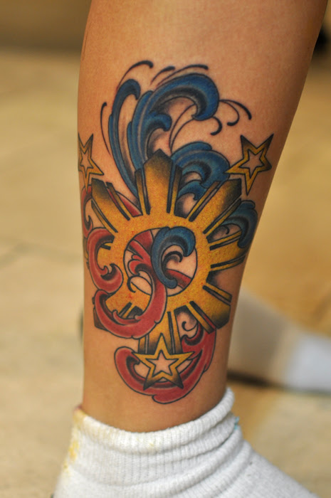 Filipino Sun Tattoo With Stars Tattoos On Right Back Shoulder Photo
