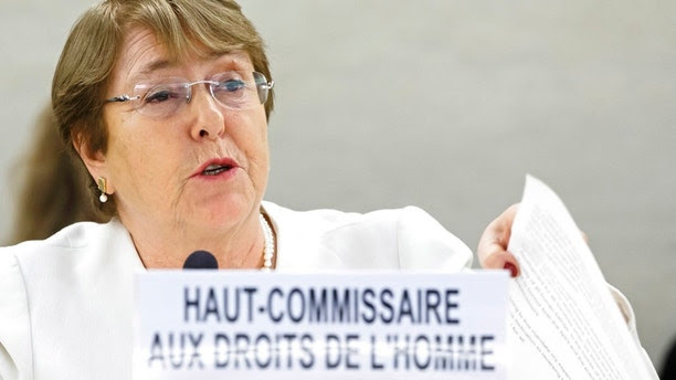 U.N. High Commissioner for Human Rights Chilean Michelle Bachelet addresses her statement during the opening of 39th session of the Human Rights Council, at the European headquarters of the United Nations in Geneva, Switzerland, Monday, Sept. 10, 2018. (Salvatore Di Nolfi/Keystone via AP)