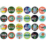 Pinback Buttons - 24-Pack Christmas Round Button Pins in 12 Designs for Kids Party Favors, Ugly Sweater Themed Designs, 2.25 Inches Diameter