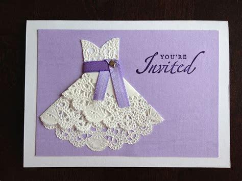 DIY Doily Wedding Dress invitations for bridal shower
