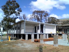 Prefabricated offices being built at ANU