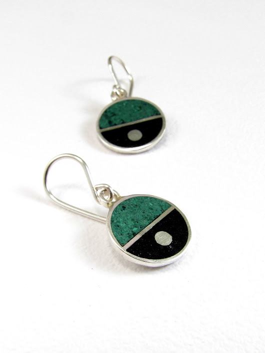 Sterling Silver Earrings - Dangle - Black and Green Divided Circles
