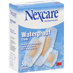 Nexcare Waterproof, Clear Bandages, Assorted Sizes, 50-Box