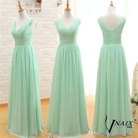 Three Styles Mint Green Long Bridesmaid Dresses Cheap