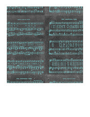 7x7 inch SQ JPG Vintage GF Christmas Sheet Music chalkboard & turquoise paper LARGE SCALE