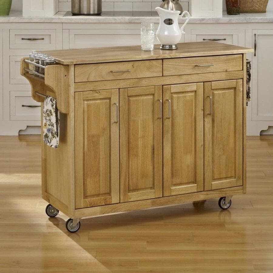 Home Styles Brown Wood Base With Wood Top Kitchen Cart 17 75 In X 48 In X 35 5 In In The Kitchen Islands Carts Department At Lowes Com