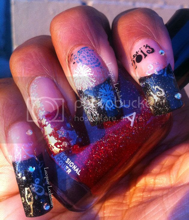 Lacquer Lockdown - new years nail art, new years, Zoya ornate collection, Zoya Blaze, Zoya Storm, Sugar Bubbles, Sugar Bubbles Special 01, Sugar Bubbles Special 02, champagne nail art, fireworks nail art, funky french, rhinestones, adventures in stamping, stamping nail art, new years nail art ideas, color club holo hues, color club foiled, sally hanesen diamond flash coat, nail art
