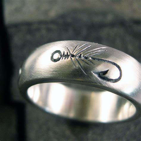 Fly Fishing Ring Wedding Band Nature Ring