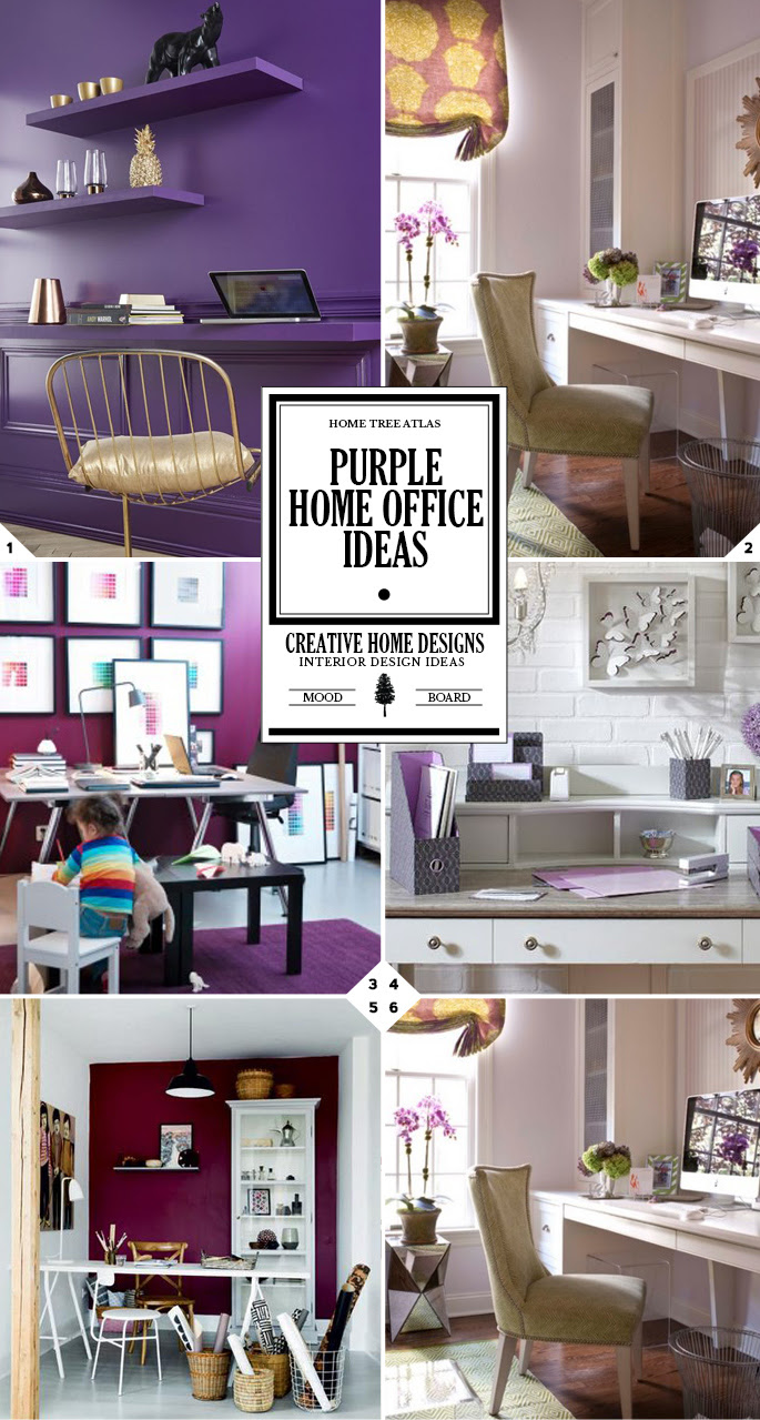 Color Style Guide: Purple Home Office Ideas  Home Tree Atlas