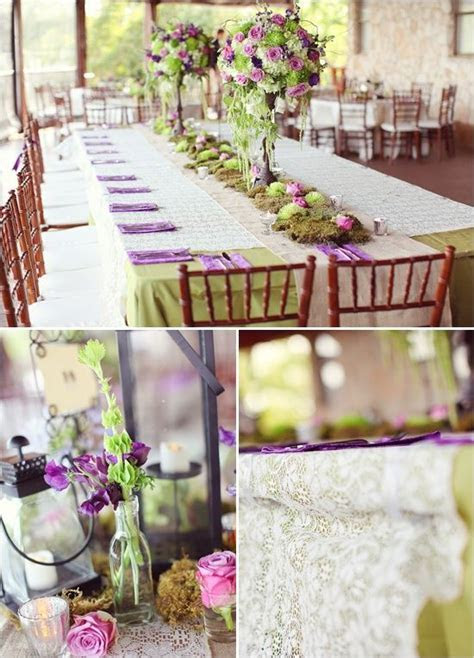 A rustic purple and mint green tablescape.   Summer