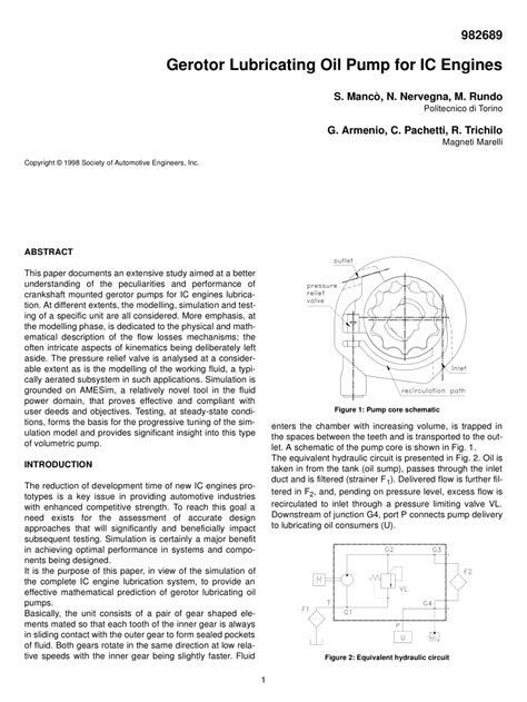 (PDF) Gerotor Lubricating Oil Pump for IC Engines