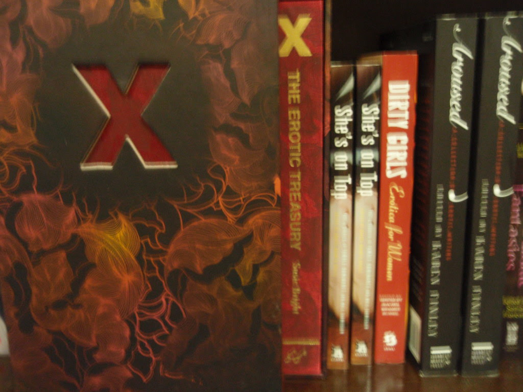 Susie Bright's X: The Erotic Treasury, next to my books at B&N