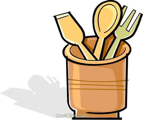Wooden Utensils In A Crock Pot Royalty Free Vector Clip Art