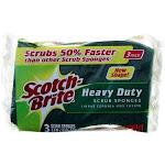 Scotch-Brite Heavy Duty Scrub Sponge, Yellow & Green, 3 Ct