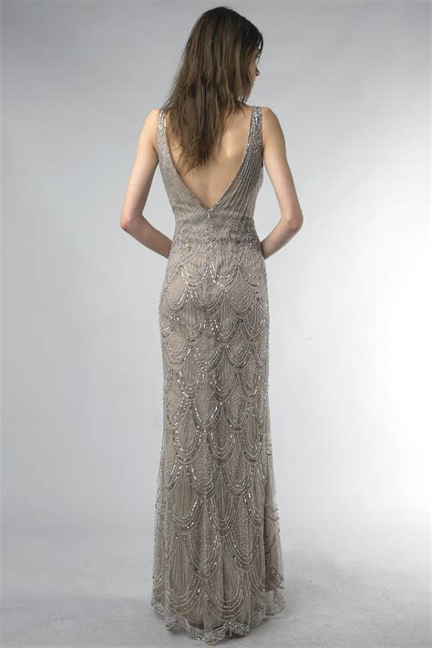 Taupe Beaded Evening Gown Size 2 ? OnceWed.com