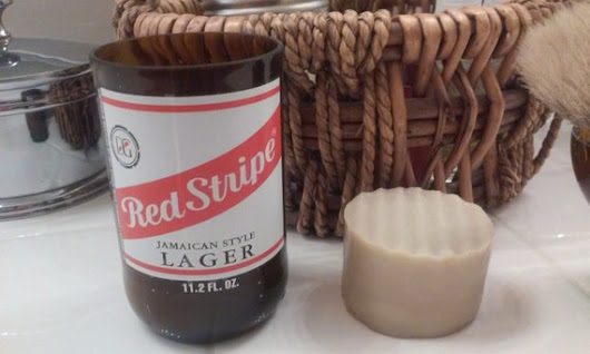 Red Stripe Beer Bottle and Lavender Cedar Shaving Soap