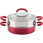 Rachael Ray Create Delicious 3qt Covered Sauteuse & Steamer Red