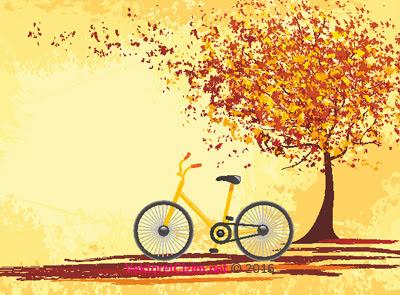 Vektörel çizim Sonbahar Ağaç Bisiklet