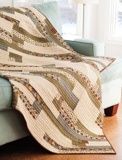Façade from Fall Easy Quilts 2013 is a throw size quilt pattern featuring neutral strips of fabric. Quilt by LOQ Staff.